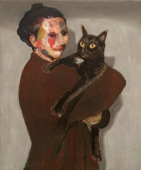 1607-21|Guim Tió Zarraluki|Noe and her cat|55×46 cm|2016|Oil on Linen