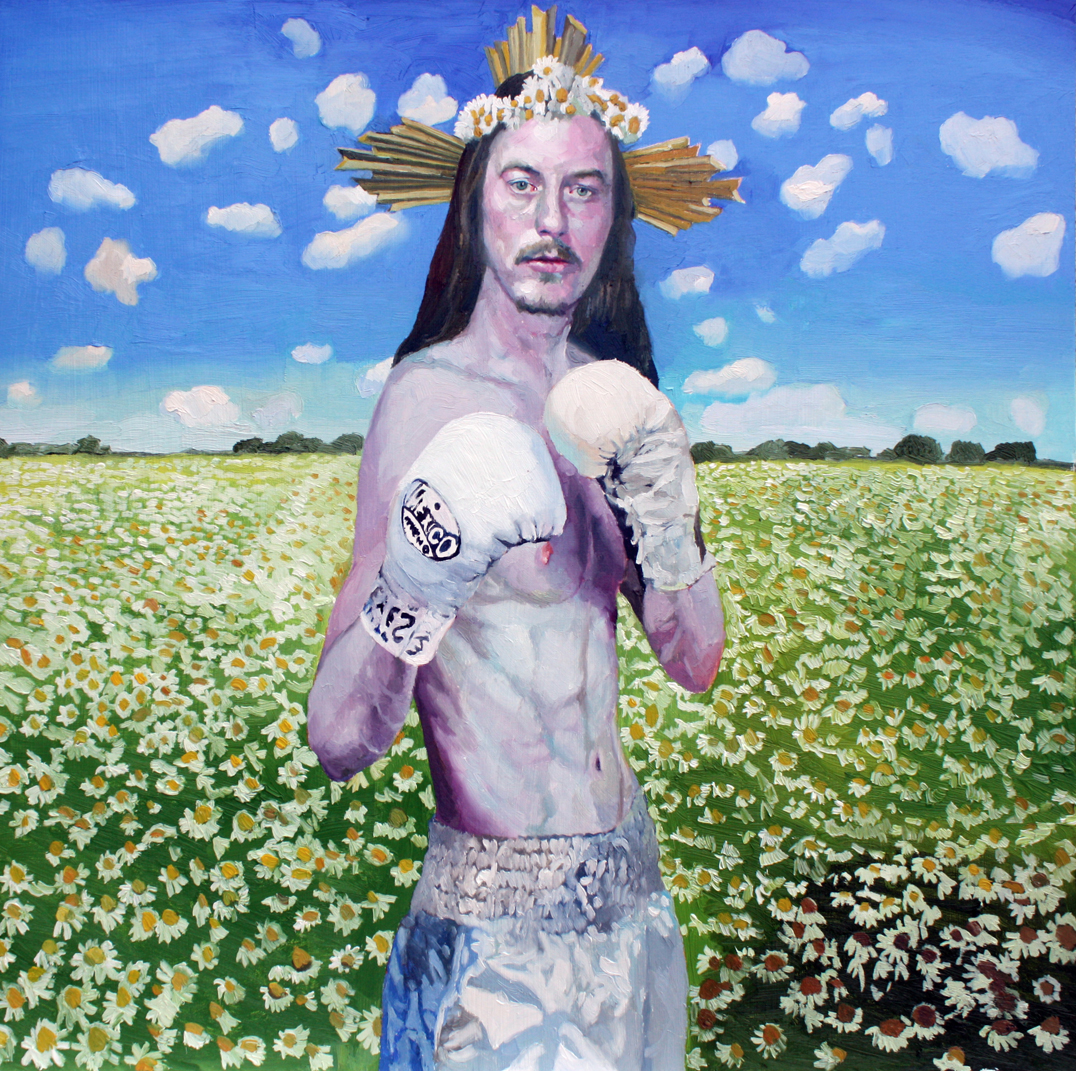 1622-07|Xevi Solà Serra 塞維.索拉|Jesus|60×60cm|Oil on Wood Panel|400e