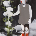 1318-02_Girl with a flower_70×100cm.2013 壓克力彩、油彩、畫布 Acrylic and Oil on Canvas