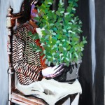 1524-17|Hanna Ilczyszyn|Girl with a plant|80×70cm|2014|Acrylic on Canvas