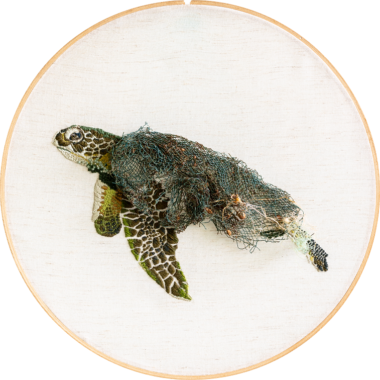 Chelonia mydas|Φ30 cm|2017|Embroidery Thread and Canvas, Iron Net